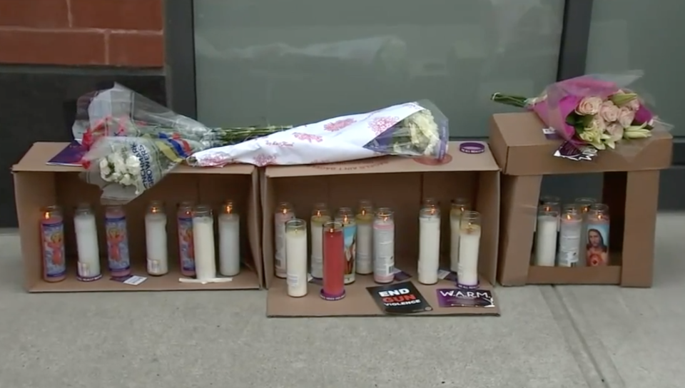 A memorial was set up for Shanice Young and her unborn child following the tragic shooting. Source: WABC
