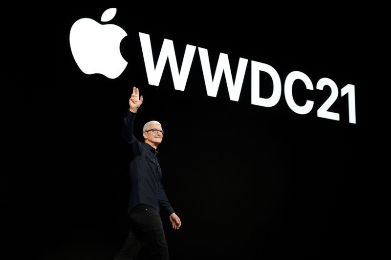 Apple CEO Tim Cook greets developers during Apple's Worldwide Developers Conference