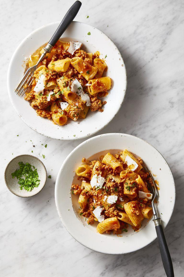 "<p>Prepare your own rigatoni from pasta dough and then compliment it with homemade pork ragu.</p><p><strong><em>Get the recipe at</em> <a href=""https://www.goodhousekeeping.com/food-recipes/a47964/pork-ragu-rigatoni-recipe/"" rel=""nofollow noopener"" target=""_blank"" data-ylk=""slk:Good Housekeeping."" class=""link rapid-noclick-resp""><em>Good Housekeeping.</em></a></strong></p>"