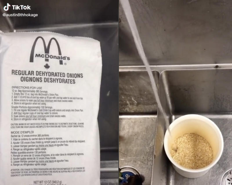 In one video TikTok user @Austin.Martinn revealed that McDonald's uses dehydrated onion which they rehydrate for burgers. Photo: TikTok/@Austin.Martinn