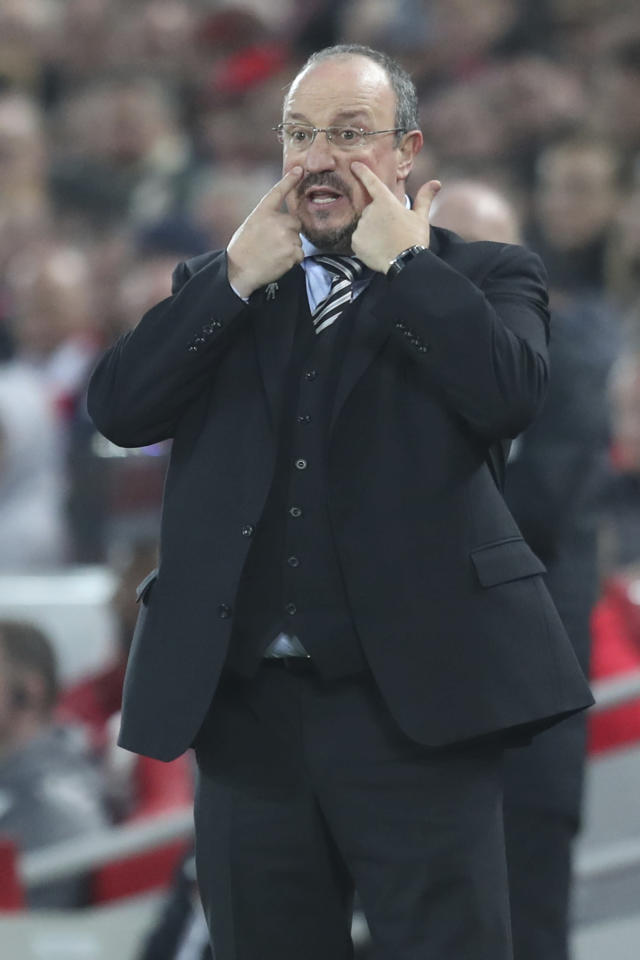 Newcastle coach Rafael Benitez gestures during the English Premier League soccer match between Liverpool and Newcastle at Anfield Stadium, in Liverpool, England, Wednesday, Dec. 26, 2018. (AP Photo/Jon Super)