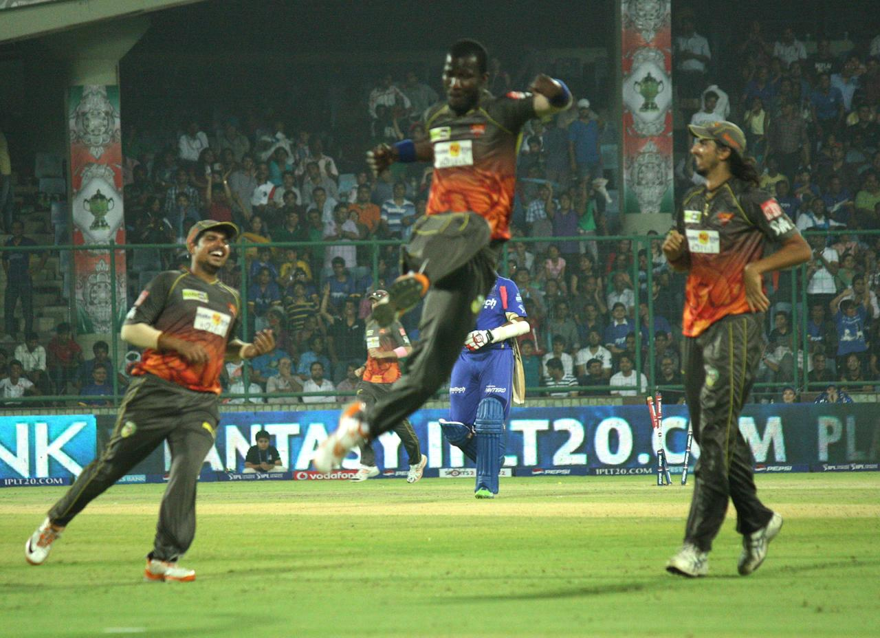 SRH players celebrate fall of wicket during the match between Sunrisers Hyderabad and Rajasthan Royals at Feroz Shah Kotla, Delhi on May 22, 2013. (Photo: IANS)