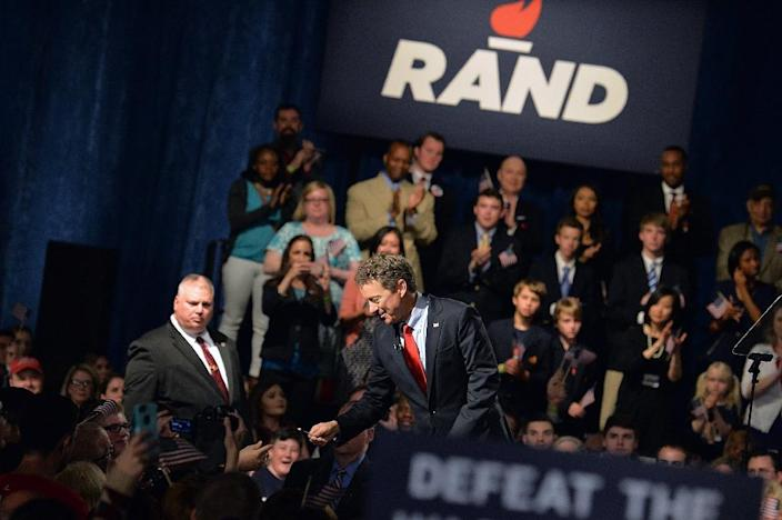"""Senator Rand Paul kicks off his national """"Stand with Rand"""" tour on April 7, 2015 in Louisville, Kentucky (AFP Photo/Michael B. Thomas)"""