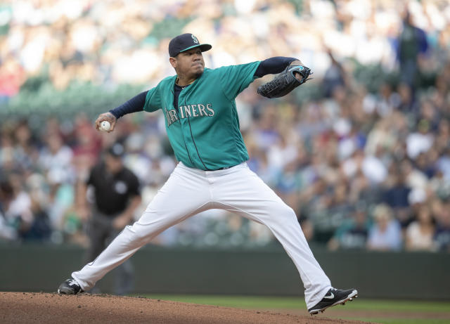Seattle Mariners starter Felix Hernandez delivers a pitch during the first inning of a baseball game against the Colorado Rockies, Friday, July 6, 2018, in Seattle. (AP Photo/Stephen Brashear)