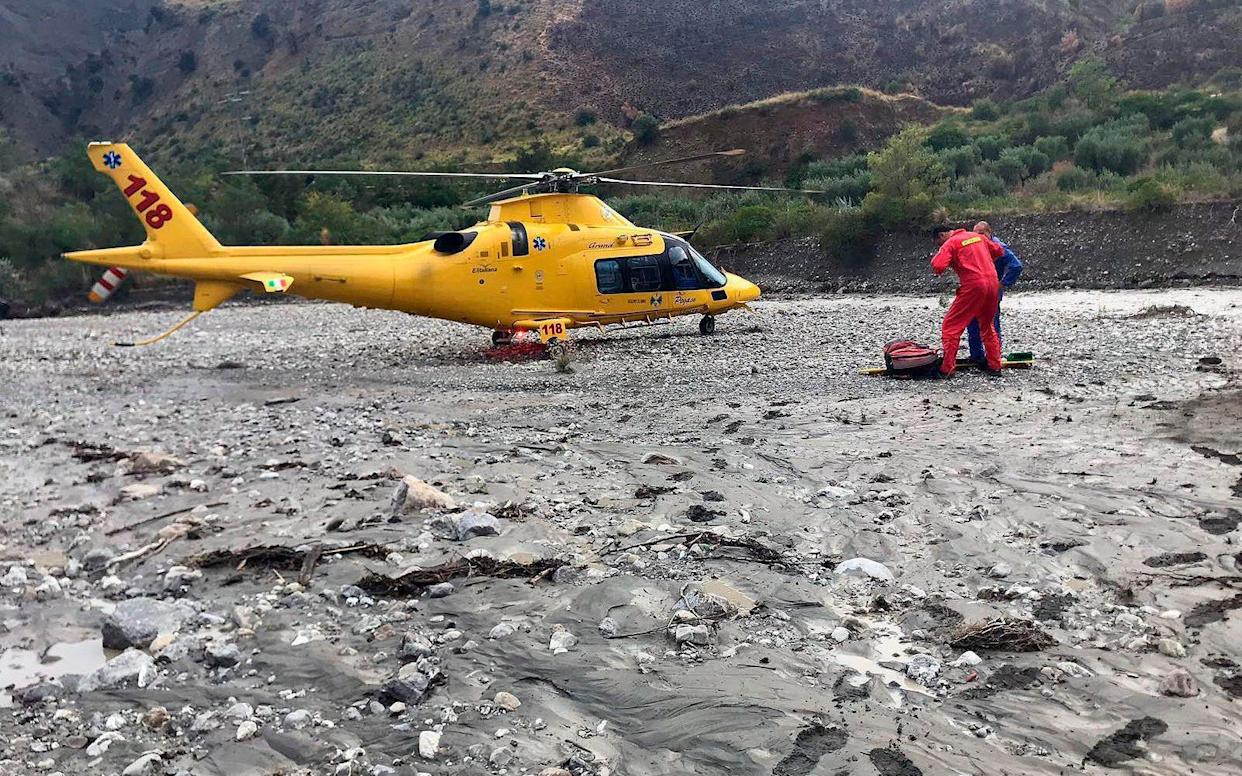 A rescue helicopter in the gorge that was hit by a flash flood - ANSA