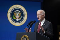 President Joe Biden speaks about his administration's response to the coup in Myanmar in the South Court Auditorium on the White House complex, Wednesday, Feb. 10, 2021, in Washington. (AP Photo/Patrick Semansky)