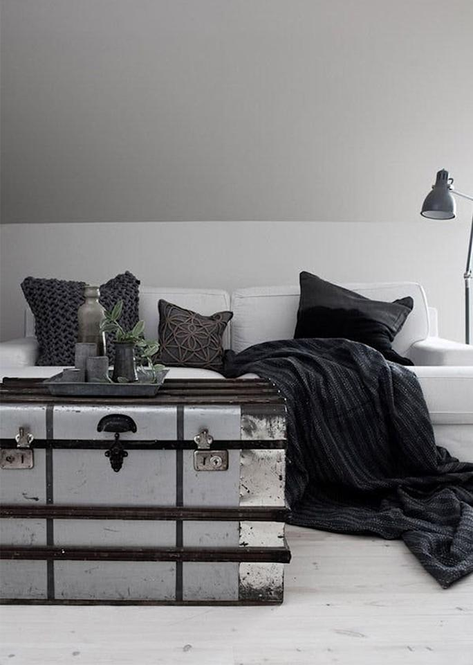 """Forget stuffing your closets with bins —<a rel=""""nofollow"""" href=""""http://daniellawitte.blogspot.ca/2013/02/weekend-inspiration.html"""">stylish storage for seasonal items</a>can be put on display."""