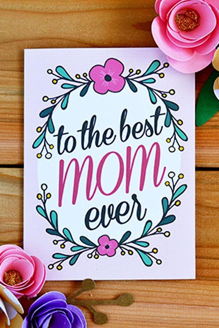 """<p>Perfect for the mom who loves pink, this pretty and colorful card stands out from the rest. And it will remind her that she really is the best.</p><p><em><strong>Get the printable at <a href=""""http://mintedstrawberry.blogspot.com/2015/04/free-printable-to-best-mom-ever-mothers.html"""" rel=""""nofollow noopener"""" target=""""_blank"""" data-ylk=""""slk:Minted Strawberry"""" class=""""link rapid-noclick-resp"""">Minted Strawberry</a>.</strong></em></p>"""