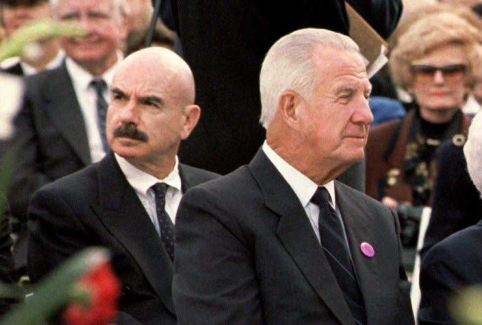YORBA LINDA, UNITED STATES: Spiro Agnew (R), who was vice president under President Richard M. Nixon, and G. Gordon Liddy (L), one of the Watergate conspirators, attend the 27 April 1994 funeral of former US President Nixon in Yorba Linda, California. Agnew resigned the vice presidency during his second term and was replaced by Gerald Ford, who became president upon Nixon's 1974 resignation. (Photo credit should read LUKE FRAZZA/AFP/Getty Images)