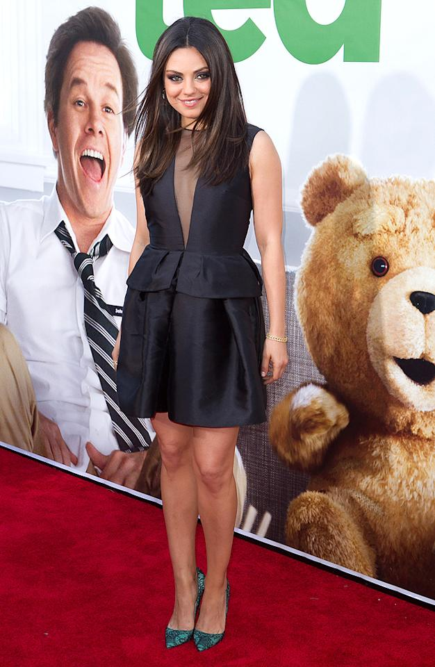 "Speaking of chic, check out the Christian Dior dress Mila Kunis wore to the Los Angeles premiere of <a target=""_blank"" href=""http://movies.yahoo.com/movie/ted-2012/"">""Ted.""</a> The frock, which featured a sexy mesh panel and trendy peplum, looked flawless, as did the actress' smokey eye makeup, sleek hairstyle, and aqua Louboutins.<br>(6/21/2012)"