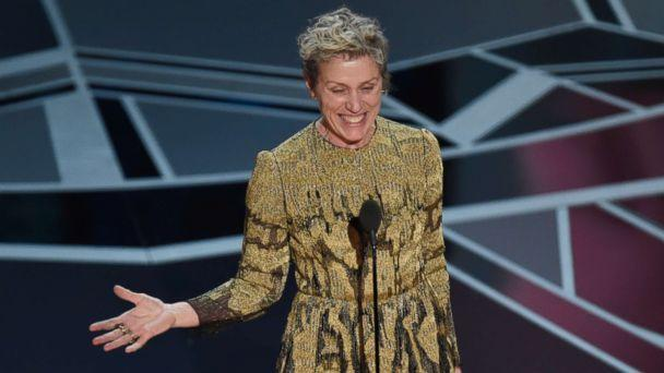 PHOTO: Frances McDormand accepts the award for best performance by an actress in a leading role for 'Three Billboards Outside Ebbing, Missouri' at the Oscars at the Dolby Theatre in Los Angeles, March 4, 2018. (Chris Pizzello/Invision/AP)