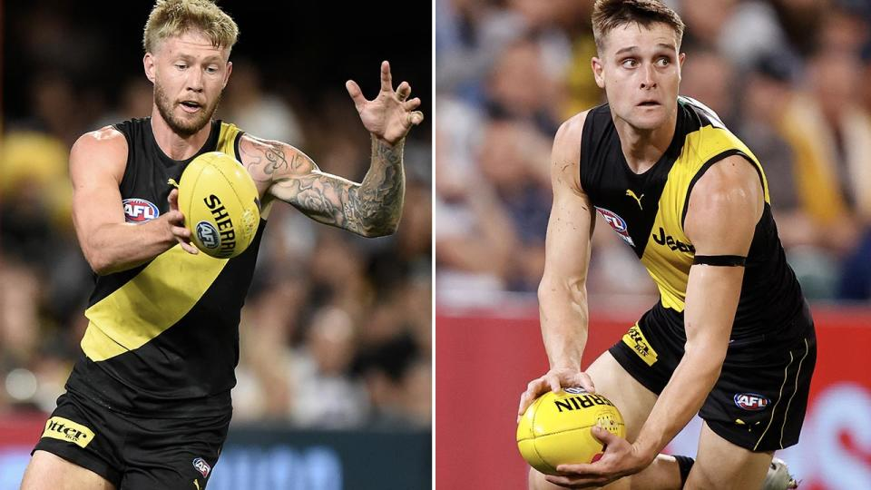 Nathan Broad and Jayden Short, pictured here in action during the 2020 AFL grand final.