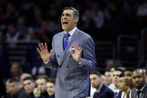 Villanova head coach Jay Wright yells to his team during the first half of an NCAA college basketball game against Georgetown, Sunday, Feb. 3, 2019, in Philadelphia. (AP Photo/Matt Slocum)