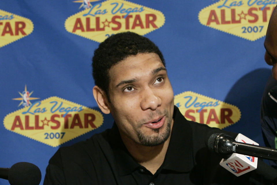 FILE - San Antonio Spurs' Tim Duncan speaks to the media during a news conference for NBA All-Star weekend in Las Vegas, in this Friday, Feb. 16, 2007, file photo. Kobe Bryant, Tim Duncan and Kevin Garnett. Each was an NBA champion, an MVP, an Olympic gold medalist, annual locks for All-Star and All-Defensive teams. And now, the ultimate honor comes their way: On Saturday night, May 15, 2021, in Uncasville, Connecticut, they all officially become members of the Naismith Memorial Basketball Hall of Fame. (AP Photo/Kevork Djansezian, File)