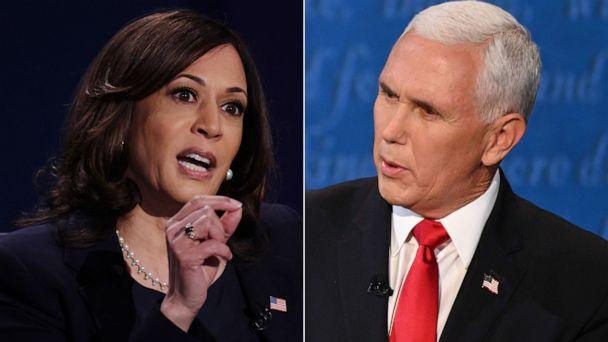 PHOTO: Sen. Kamala Harris and Vice President Mike Pence participate in the 2020 vice presidential debate, Oct. 7. 2020, in Salt Lake City. (Getty images)