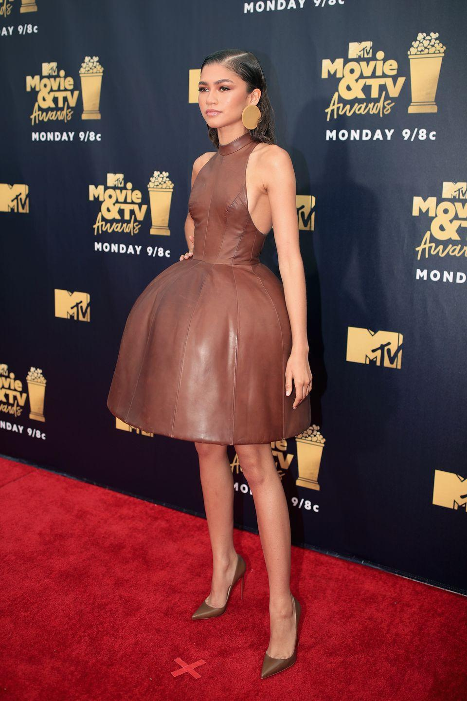 <p>This leather August Getty dress had a structured dome skirt, so obviously she was the center of attention at the 2018 MTV Movie Awards.</p>