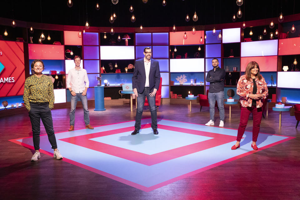 Zoe Lyons, Andrew Hunter Murray, Kae Kurd, and Kate Robbins compete on House of Games this week. (BBC/Remarkable TV/Matt Frost)