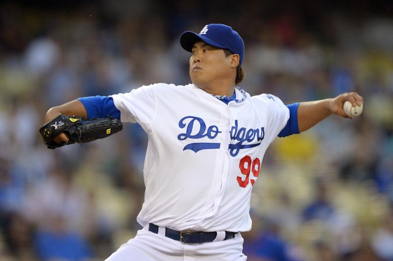 Los Angeles Dodgers starting pitcher Hyun-Jin Ryu, of South Korea, throws to the plate during the first inning of their baseball game against the New York Mets, Tuesday, Aug. 13, 2013, in Los Angeles. (AP Photo/Mark J. Terrill)