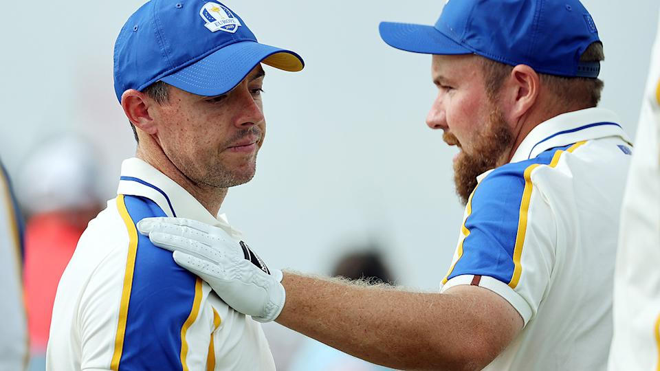 Shane Lowry, pictured here hugging Rory McIlroy at the Ryder Cup.