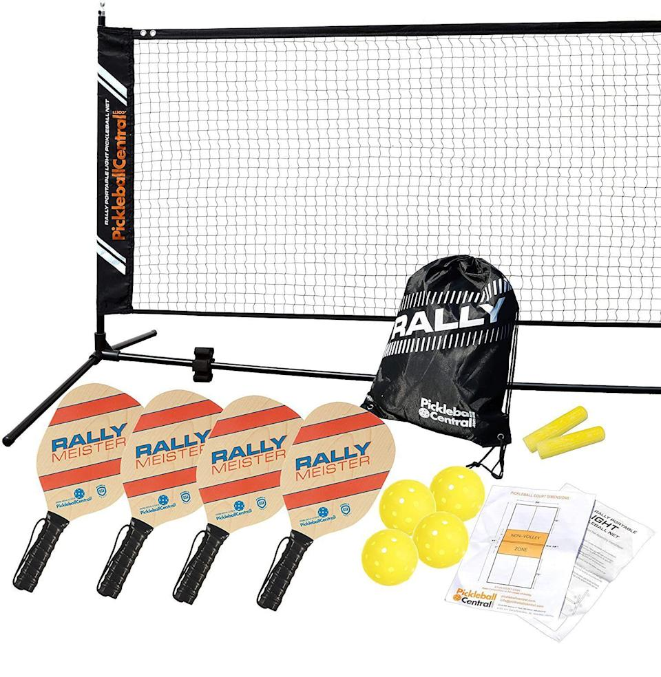 """<p><strong>PickleballCentral</strong></p><p>amazon.com</p><p><strong>$129.99</strong></p><p><a href=""""https://www.amazon.com/dp/B08M27L34D?tag=syn-yahoo-20&ascsubtag=%5Bartid%7C10054.g.37069847%5Bsrc%7Cyahoo-us"""" rel=""""nofollow noopener"""" target=""""_blank"""" data-ylk=""""slk:Buy"""" class=""""link rapid-noclick-resp"""">Buy</a></p><p>If they're in need of a new outdoor sport—one that's easily set up on the driveway or a concrete court—then get them Pickleball. They'll be addicted to this tennis/four-square/badminton mashup in no time.</p>"""