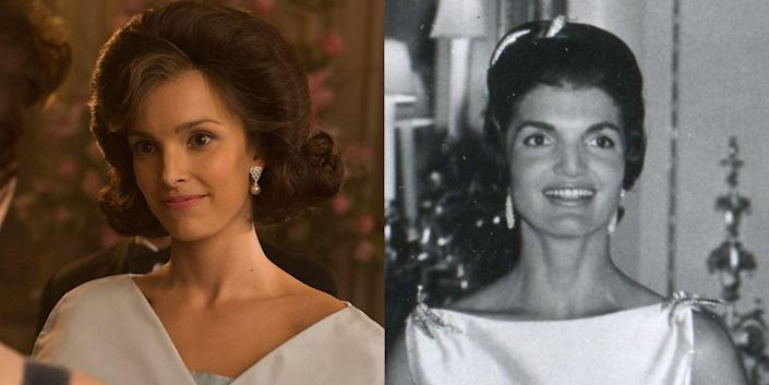 <p>What's it like to have dinner at Buckingham Palace when you're practically royalty yourself? If only we could ask Jackie O, who visited Queen Elizabeth II for dinner at Buckingham Palace with JFK shortly after his inauguration in 1961. On <em>The Crown</em>, Jackie O is played by South African actress Jodi Balfour.</p>
