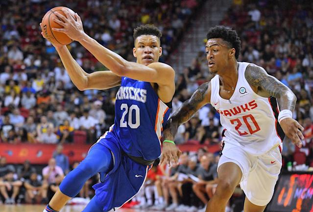 "Knicks rookie <a class=""link rapid-noclick-resp"" href=""/nba/players/6020/"" data-ylk=""slk:Kevin Knox"">Kevin Knox</a> has been impressive in summer league. (Getty)"