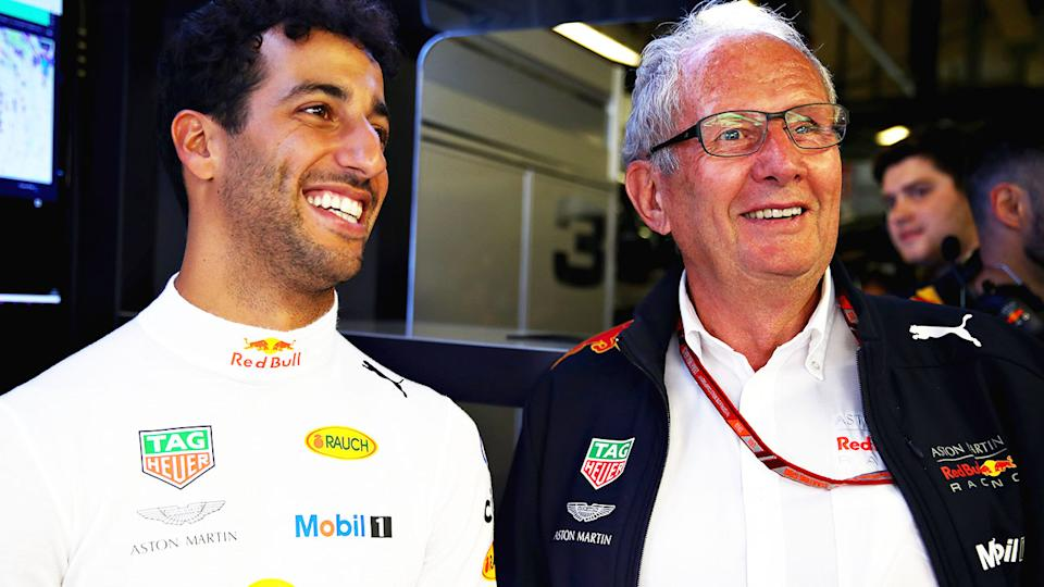 Daniel Ricciardo, pictured here with Helmut Marko at the Italian Grand Prix in 2018.