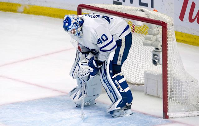 Maple Leafs backup Garret Sparks has lost five of his last six starts. (Adrian Wyld/The Canadian Press via AP)