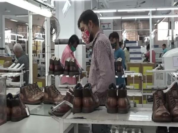 Visual of a shoe making unit in Agra (Photo/ANI)