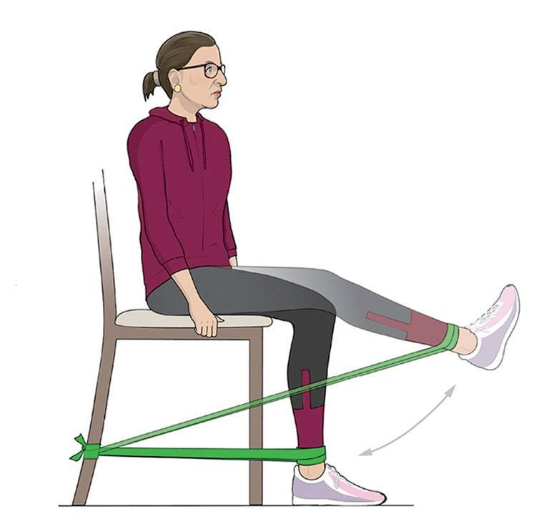 Sit on a chair with resistance band looped around one ankle and both ends wrapped around back of chair. Start with knee bent at a 90-degree angle, then extend foot until leg is nearly straight, as shown, without locking knee. Return leg to bent position; repeat. Do three sets of 10 to 12 reps per leg.