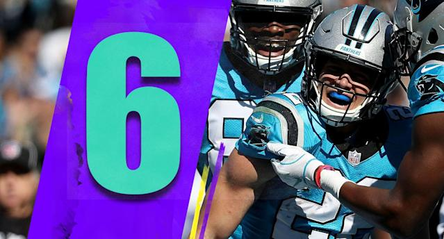 <p>Over the past five games, Christian McCaffrey missed two offensive snaps against the Giants and one on Sunday against the Ravens. He came into the league and everyone assumed he'd be a committee back because of his size, but he has been a 205-pound workhorse instead. (Christian McCaffrey) </p>