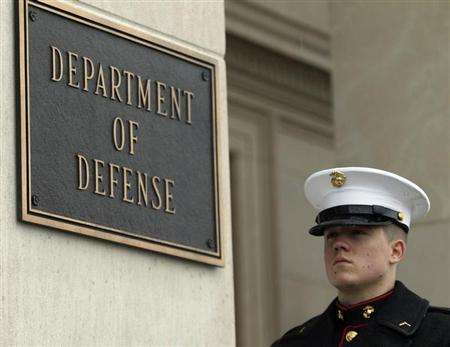A United States Marine stands by his post in front of the Pentagon in Washington