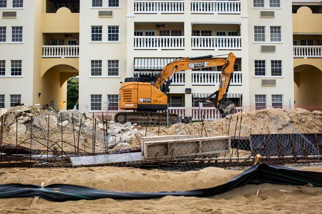 The pool's construction zone, pictured on Aug. 2. (Photo: Erika P. Rodriguez for HuffPost)