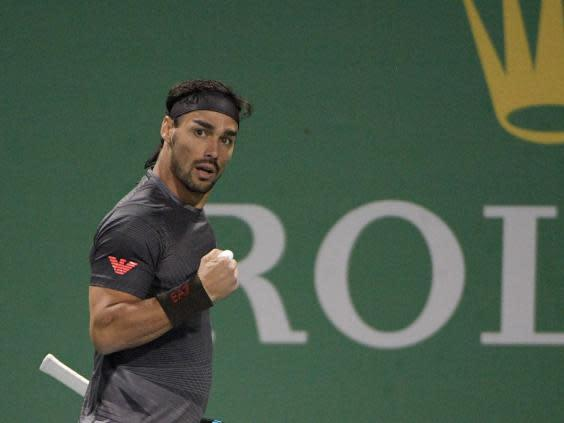 Fabio Fognini celebrates during his victory over Andy Murray (Getty)