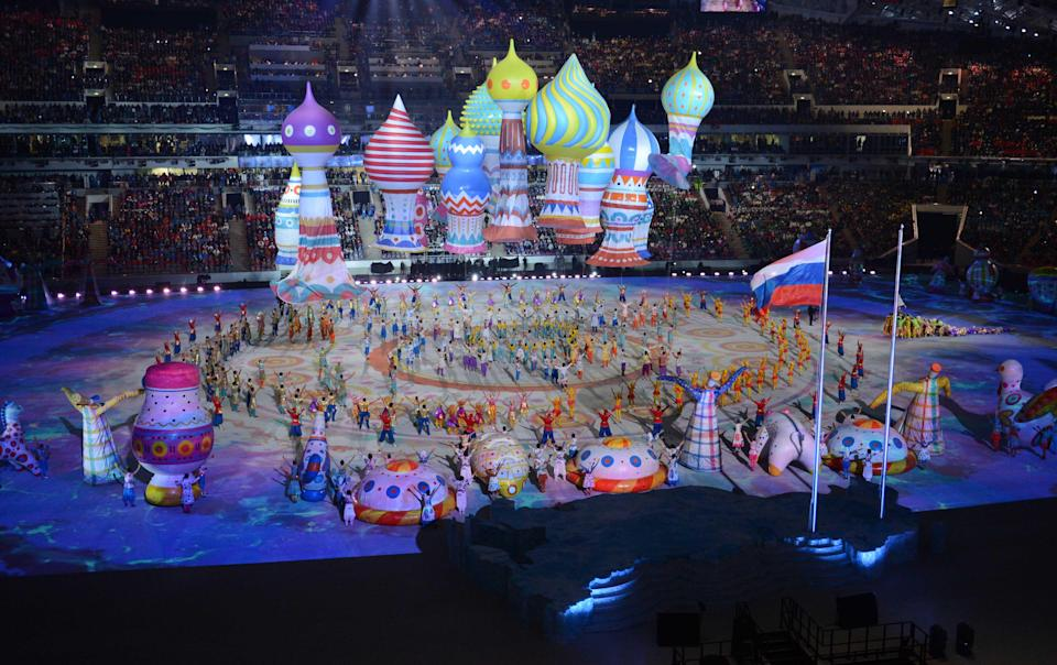 A general view of performers during the opening ceremony for the 2014 Olympic Winter Games at Fisht Olympic Stadium on Feb. 7, 2014.