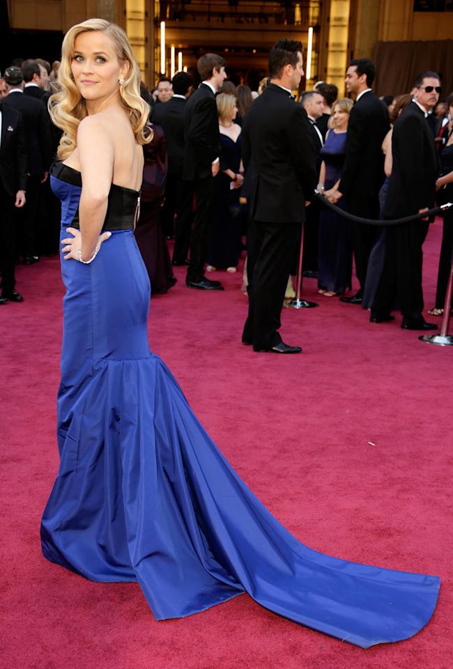 Reese Witherspoon arrives at the Oscars at Hollywood & Highland Center on February 24, 2013 in Hollywood, California.