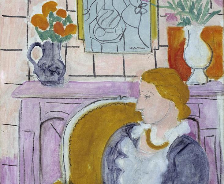 """FILE - This undated file photo released by Henie Onstad Kunstsenter on Friday, April 5, 2013, shows the painting """"Woman in Blue in Front of a Fireplace,"""" circa 1937 by Henry Matisse. A Norwegian museum says it has agreed to return a Matisse once looted by Hermann Goering to the family of Jewish art dealer Paul Rosenberg. The 1937 painting, """"Woman in Blue in Front of a Fireplace,"""" has been the centerpiece of the Henie Onstad Art Center near Oslo since the museum was established in 1968 by shipping magnate Niels Onstad and his wife, Olympic figure-skating champion Sonja Henie. The museum said in a statement Thursday that although it acquired the painting in good faith, it has """"chosen to adhere to international conventions and return the painting to Rosenberg's heirs."""" (AP Photo/Oystein Thorvaldsen, Henie-Onstad Art Centre)"""