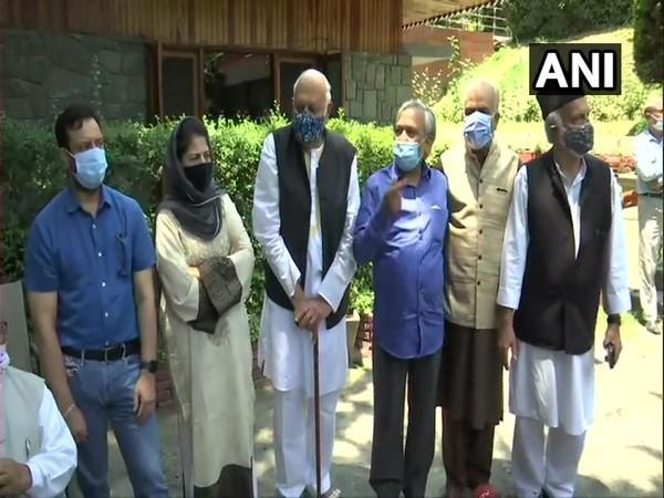 Leaders of PAGD at Farooq Abdullah's residence in Srinagar on Tuesday.