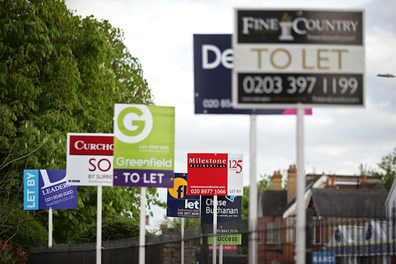 "File photo dated 15/04/17 of letting agent signs. More than one in 10 privately-rented homes in Britain is now let by a private company as the sector continues to ""professionalise"", according to estimates."