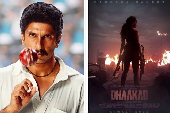 Poster of upcoming movies Dhaakad and 83
