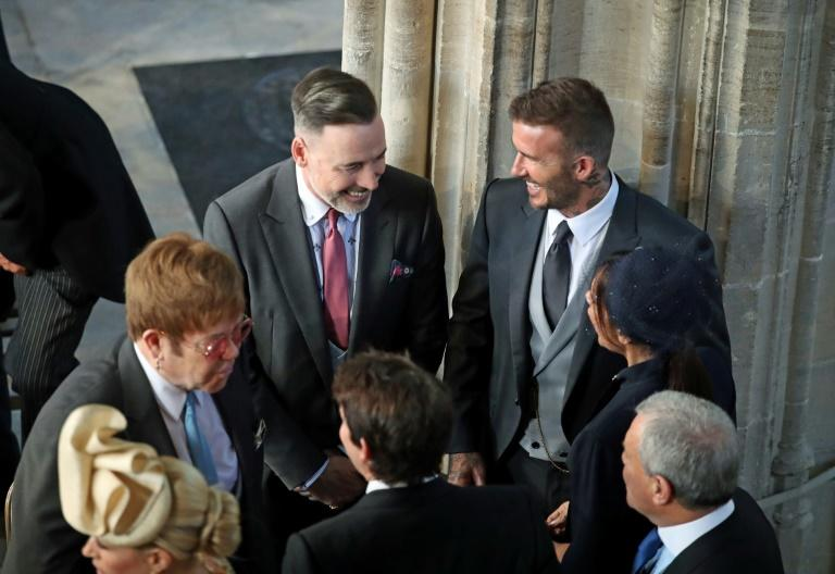 Elton John and David Beckham chatted before the ceremony