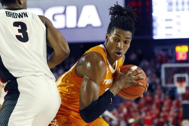 Tennessee's Yves Pons (35) comes up with a rebound during the first half of the team's NCAA college basketball game against Georgia on Wednesday, Jan. 15, 2020, in Athens, Ga. (Joshua L. Jones/Athens Banner-Herald via AP)