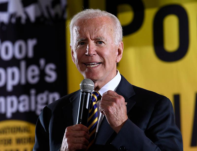 Democratic presidential candidate and former Vice President Joe Biden speaks at the Poor People's Moral Action Congress presidential forum in Washington, D.C., on June 17, 2019. (Photo: Susan Walsh / ASSOCIATED PRESS)
