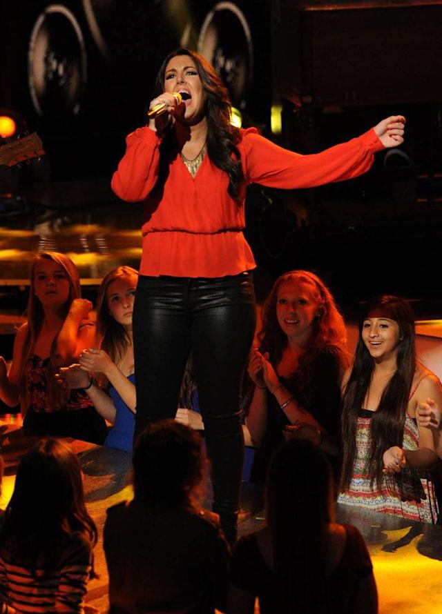 "Kree Harrison performs ""It Hurt So Bad"" on the Wednesday, April 24 episode of ""American Idol."""