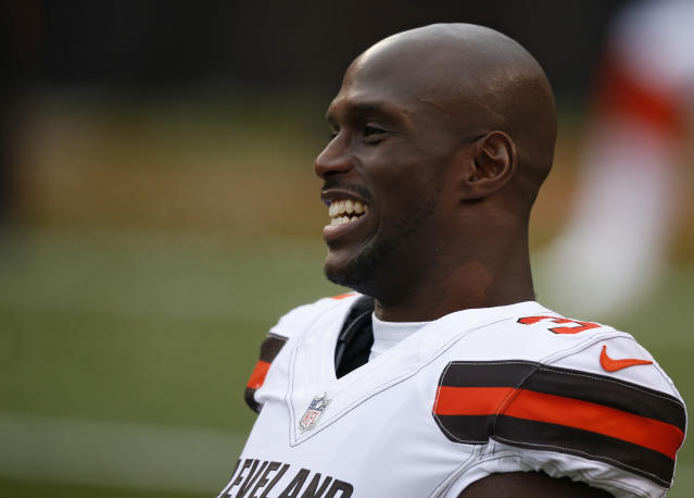 Cleveland Browns defensive back Jason McCourty smiles before an NFL football game between the Baltimore Ravens and the Cleveland Browns, Sunday, Dec. 17, 2017, in Cleveland. (AP Photo/Ron Schwane)