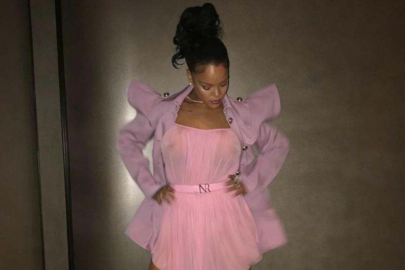 more photos e6618 dcc52 Rihanna Wore an All-Pink Look With Furry Heels You Won't Forget