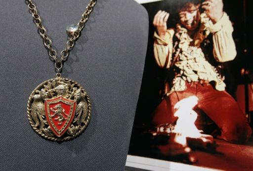 A gilt-metal necklace and enamel medallion worn by Jimi Hendrix on stage at the Monterey Pop Festival in 1967, considered one of his seminal performances