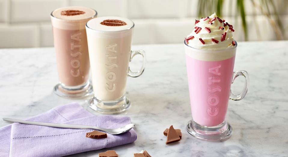 Costa has launched a new pink hot chocolate that's ideal for sharing on social media [Image: Costa]