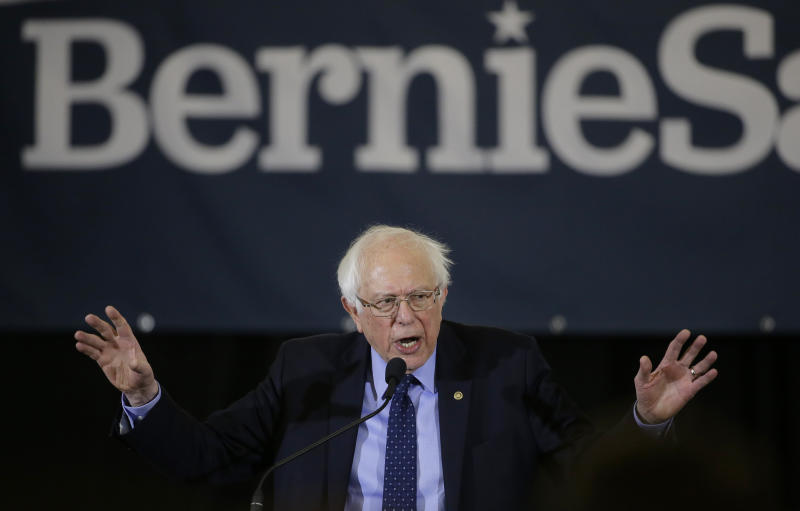 "In this March 10, 2019 photo, 2020 Democratic presidential candidate Sen. Bernie Sanders addresses a rally during a campaign stop, in Concord, N.H. The Democratic Socialists of America has endorsed Vermont Sen. Bernie Sanders in his second run for president. The New York-based group says its National Political Committee voted to endorse Sanders at a meeting on Thursday and it's moving forward with ""an independent campaign"" to elect him and ""advance a class-struggle agenda."" The 77-year-old Sanders announced his Democratic presidential bid last month, promising a government about ""economic, social, racial and environmental justice."" (AP Photo/Steven Senne)"