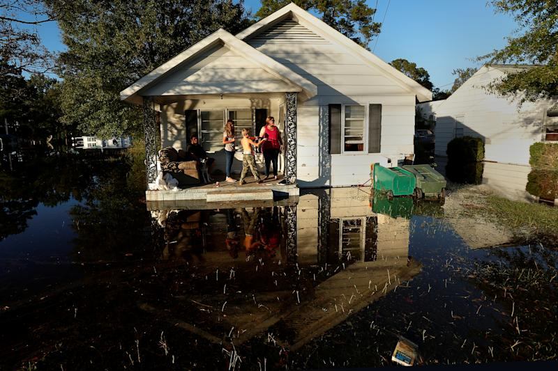 Lumberton, North Carolina, residents take refuge from Hurricane Matthew's floodwaters in October 2016. Less than 1 percent of the state's request for federal assistance after the storm was approved. (Carlo Allegri / Reuters)
